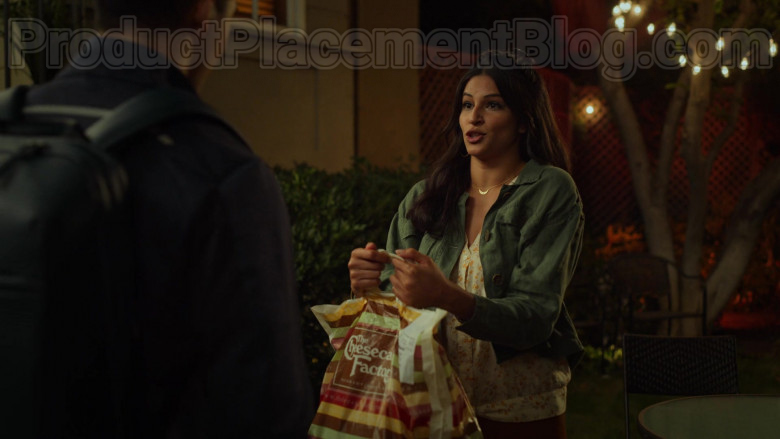 The Cheesecake Factory Restaurant Plastic Bags Held by Richa Shukla as Kamala in Never Have I Ever S01E03