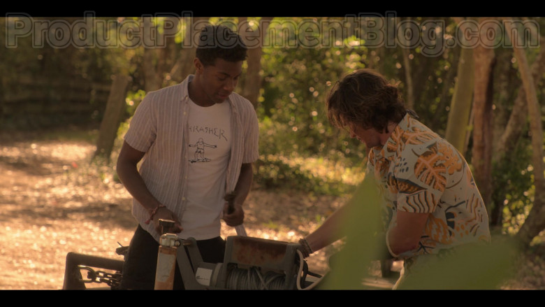 Thrasher White Tee Worn by Jonathan Daviss in Outer Banks (1)