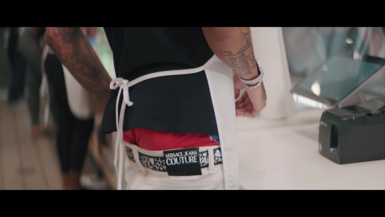 Versace Jeans Couture White Pants in Holy Moly by Blueface ft. NLE Choppa
