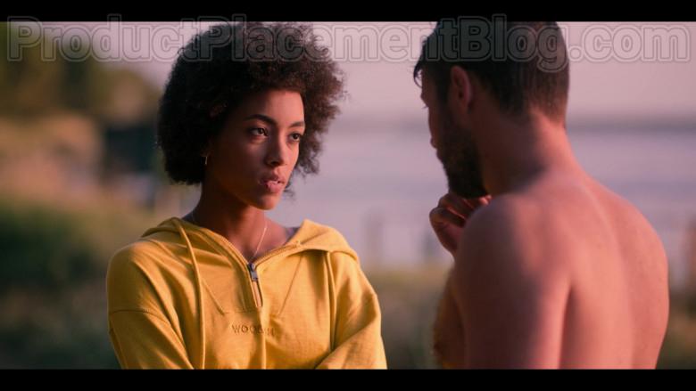 Woolrich Yellow Hoodie of Rebecca Coco Edogamhe in Summertime S01E01 I Hate Summer (1)