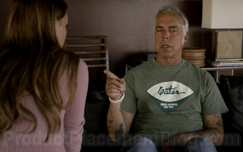 Yater Santa Barbara Surf Shop Logo Green T-Shirt of Titus Welliver in Bosch S06E03 (1)