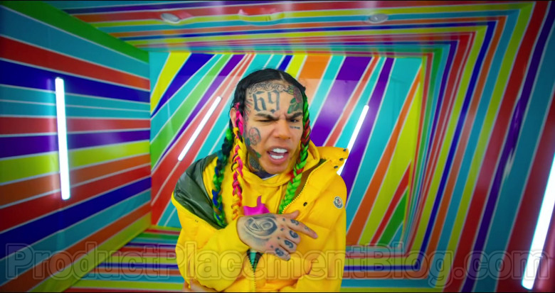 6ix9ine Wearing Moncler Yellow Down Puffer Vest Outfit in GOOBA [2020] (3)