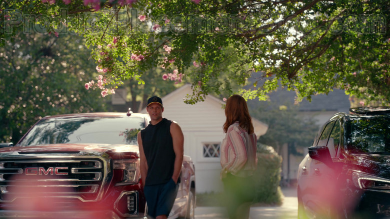 Actor Using GMC Sierra Red Pickup Truck in Sweet Magnolias S01E03 Give Drink to the Thirsty (1)