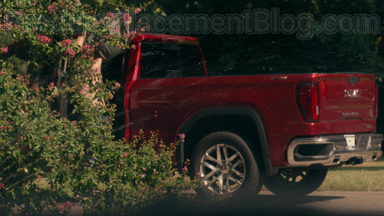 Actor Using GMC Sierra Red Pickup Truck in Sweet Magnolias S01E03 Give Drink to the Thirsty (2)