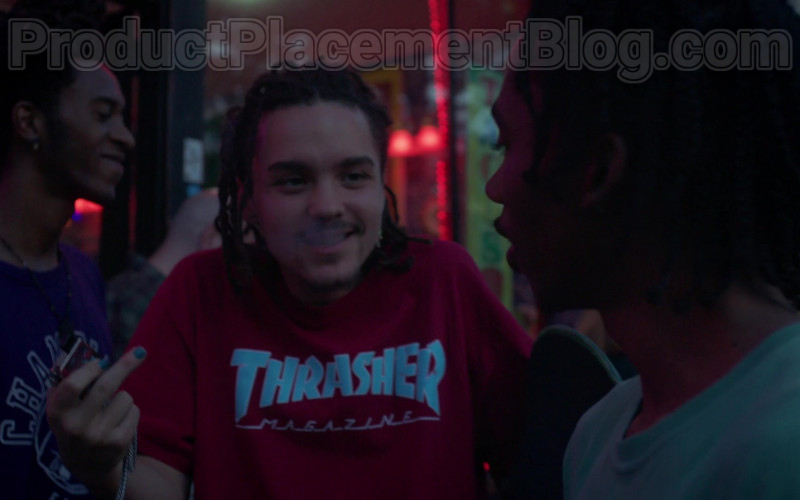 Actor Wearing Thrasher Magazine Logo Red T-Shirt Outfit in Betty S01E03 TV Series