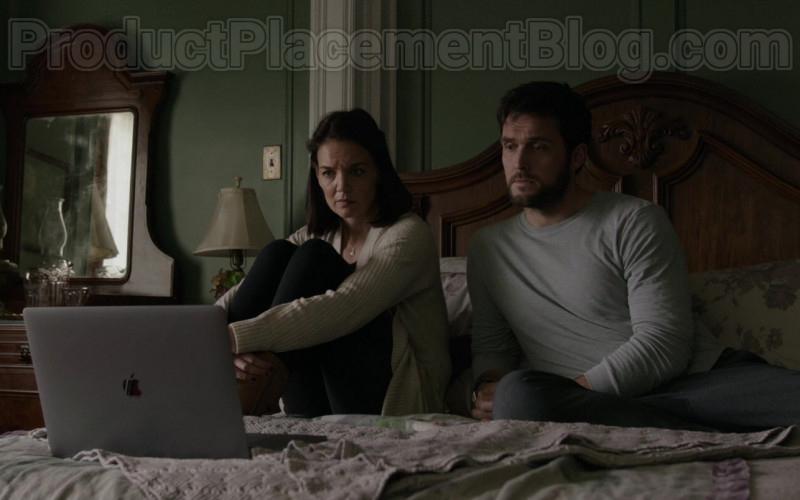 Actors Katie Holmes and Owain Yeoman Using Apple MacBook Pro Laptop in Brahms The Boy II (2020) Movie