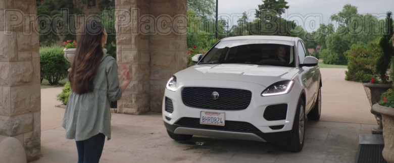 Actress Driving Jaguar E-Pace White SUV in Adventures of Rufus The Fantastic Pet 2020 Movie (1)