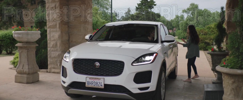 Actress Driving Jaguar E-Pace White SUV in Adventures of Rufus The Fantastic Pet 2020 Movie (2)