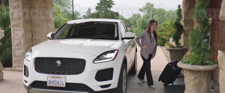 Actress Driving Jaguar E-Pace White SUV in Adventures of Rufus The Fantastic Pet 2020 Movie (3)