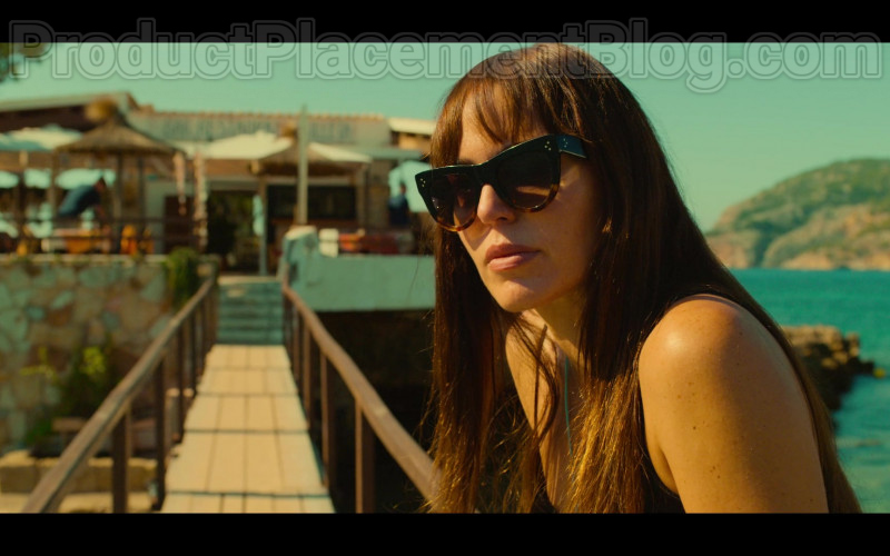 Actress Wearing Celine CL40016I Cat Eye Sunglasses in White Lines TV Show By Netflix