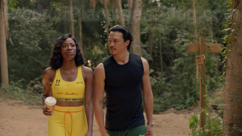 Actress Wearing Nike Off-White Yellow Sports Bra Outfit in Insecure S04E07 TV Show (1)
