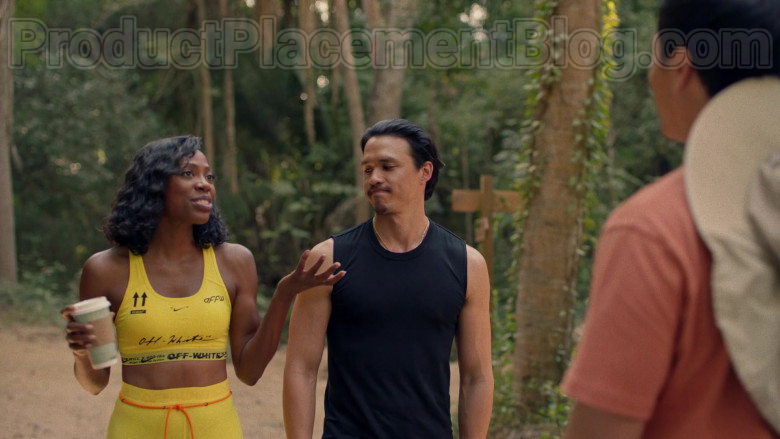 Actress Wearing Nike Off-White Yellow Sports Bra Outfit in Insecure S04E07 TV Show (2)
