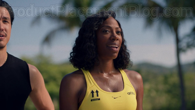 Actress Wearing Nike Off-White Yellow Sports Bra Outfit in Insecure S04E07 TV Show (3)
