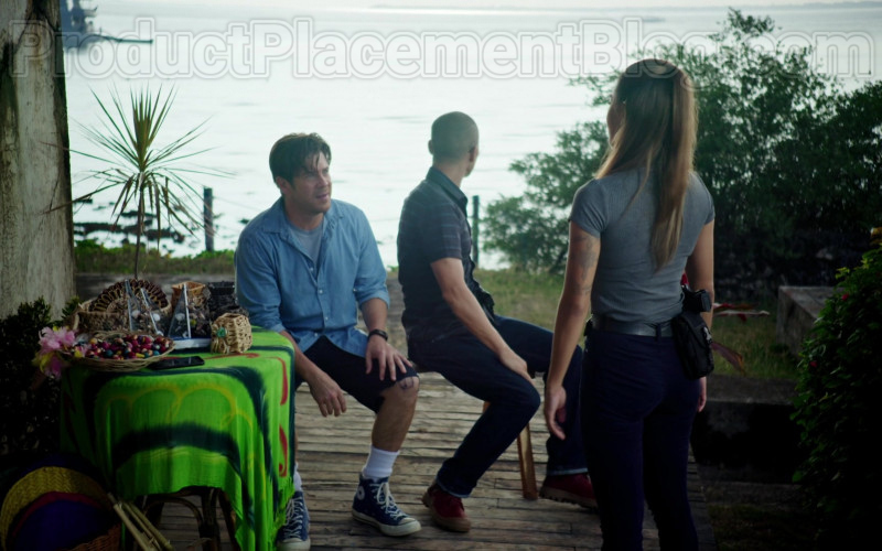 Converse Blue High Tops Shoes of Christian Kane in Almost Paradise TV Series (2)
