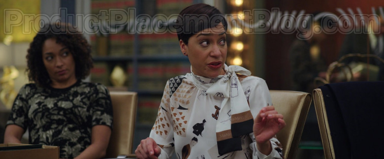 Cush Jumbo as Lucca Quinn Wearing Max Mara Sketch Print Scarf Blouse Outfit in The Good Fight S04E07 TV Show
