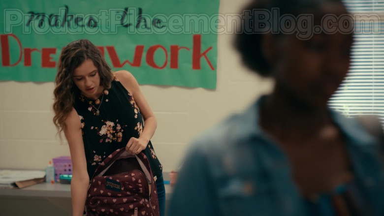 Harlan Drum as CeCe Matney Using JanSport SuperBreak Russet Red Bleeding Hearts Backpack in Sweet Magnolias S01E07 TV Show (1)