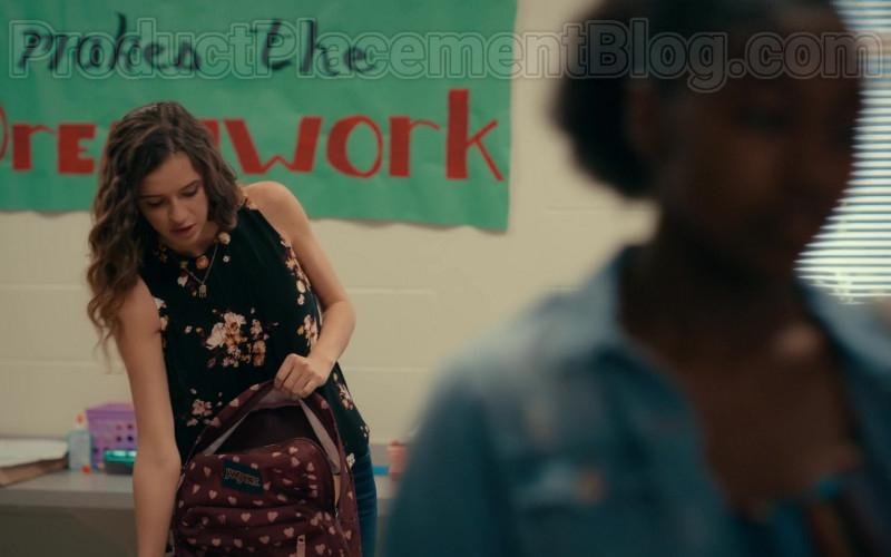 Harlan Drum as CeCe Matney Using JanSport SuperBreak Russet Red Bleeding Hearts Backpack in Sweet Magnolias S01E07 TV Show (1)