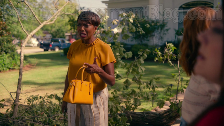 Heather Headley as Helen Decatur Using Coach Crossgrain Leather Mini Christie Carryall Bag in Sweet Magnolias TV Show (1