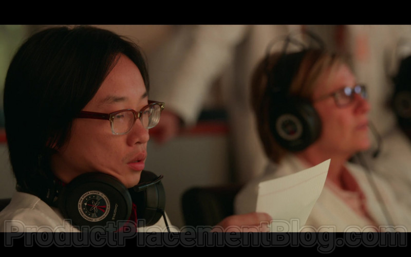 Jimmy O. Yang as Dr. Chan Kaifang Using Nubwo Headsets in Space Force S01E05 TV Show