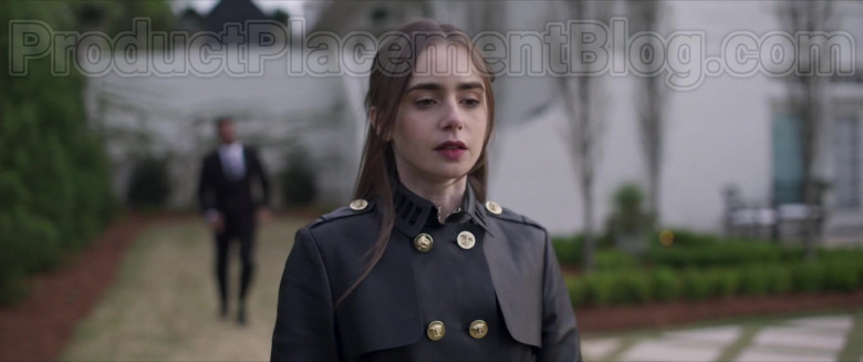 Lily Collins Wearing Versace Leather Trench Coat Outfit in Inheritance Movie (2)
