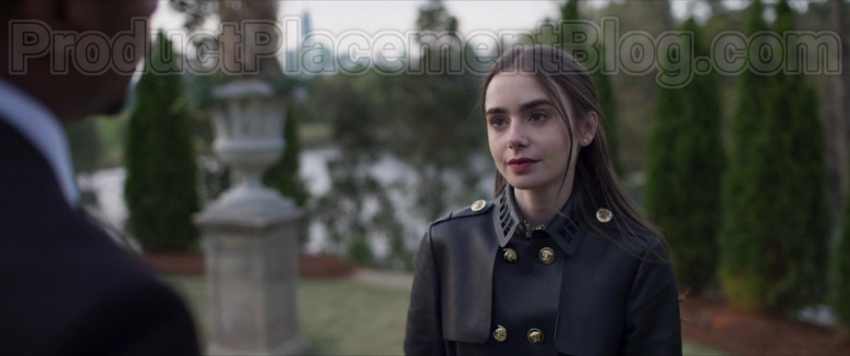 Lily Collins Wearing Versace Leather Trench Coat Outfit in Inheritance Movie (3)