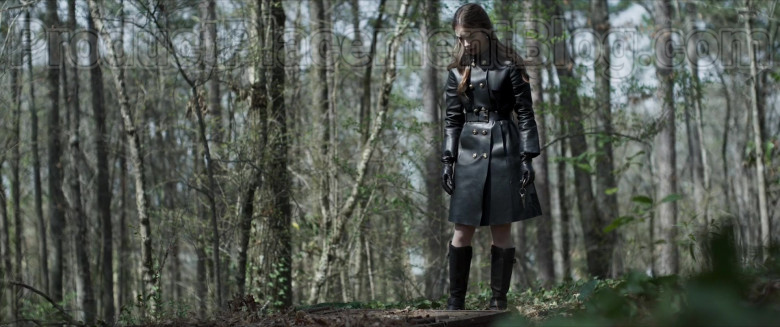 Lily Collins Wearing Versace Leather Trench Coat Outfit in Inheritance Movie (4)