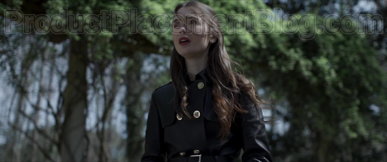Lily Collins Wearing Versace Leather Trench Coat Outfit in Inheritance Movie (5)