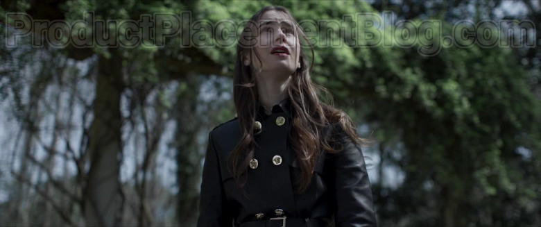 Lily Collins Wearing Versace Leather Trench Coat Outfit in Inheritance Movie (6)
