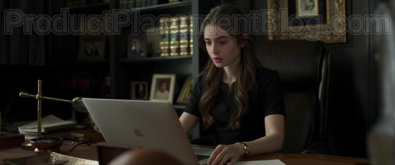Lily Collins as Lauren Monroe Using Apple MacBook Pro Laptop in Inheritance Movie (2)