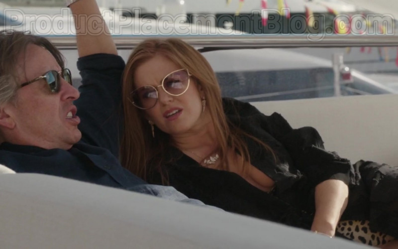 Linda Farrow Fontaine Cat Eye Sunglasses of Isla Fisher in Greed Movie (2)