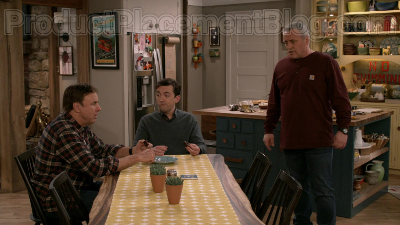 Matt LeBlanc Wearing Carhartt Men's Workwear Pocket Henley Shirt in Man with a Plan S04E09 TV Series (3)