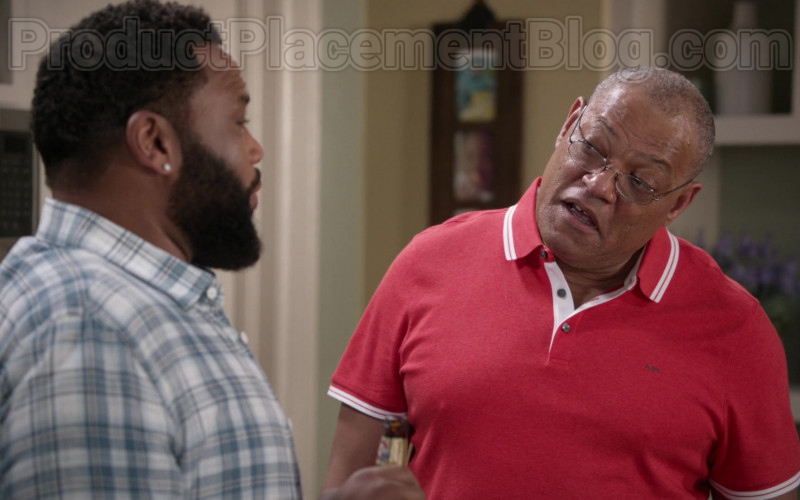Michael Kors MK Red Polo Shirt of Laurence Fishburne as Pops in Black-ish S06E23
