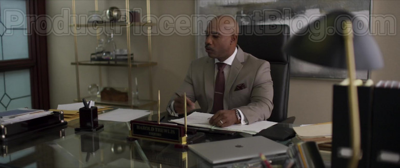 Movie Actor Michael Beach as Harold Thewlis Using Apple MacBook Laptop in Inheritance (2020)