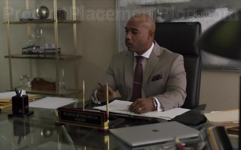 Movie Actor Michael Beach as Harold Thewlis Using Apple MacBook Laptop in Inheritance (2020)