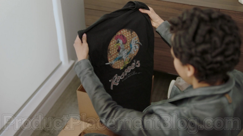 Roscoe's House of Chicken and Waffles Restaurant Chain T-Shirt of Andy Allo as Nora in Upload TV Show (1)