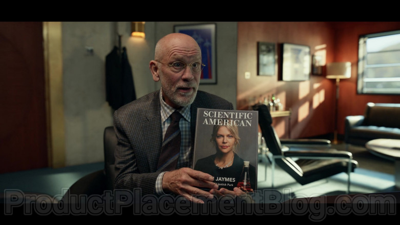 Scientific American Magazine Held by John Malkovich as Dr. Adrian Mallory in Space Force S01E07 TV Show