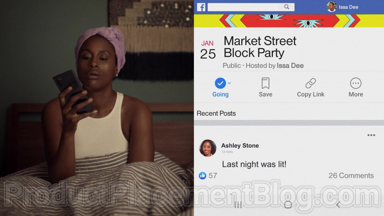 TV Show Actress Using Facebook Social Network in Insecure S04E06 Lowkey Done (2020)
