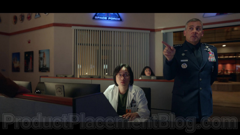 TV Show Cast Members Using Dell Computer Monitors in Space Force S01E02 by Netflix (2)