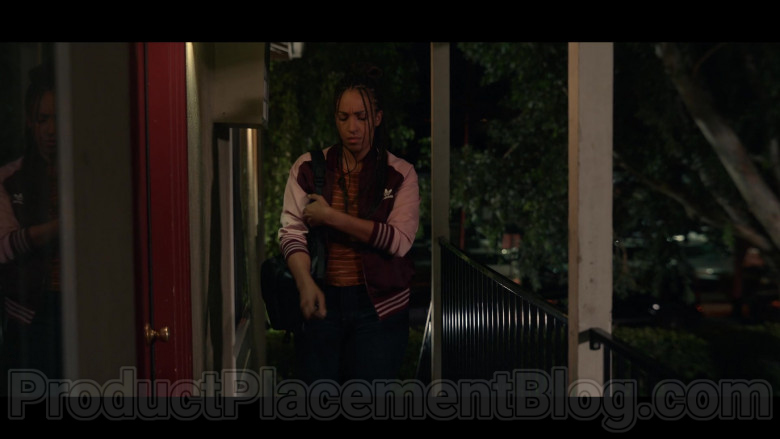 Tawny Newsome as Angela Ali Adidas Jacket Sports Outfit in Space Force S01E01 TV Show