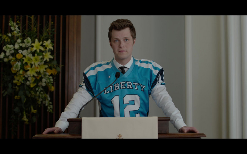 Actor Wearing Champion Jersey Outfit in 13 Reasons Why S04E04 Senior Camping Trip (2020)