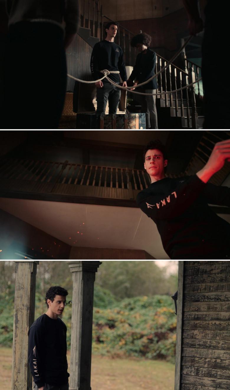Adam DiMarco as Randall Carpio Wears Lakai Black Sweatshirt in The Order S02E10 TV Show