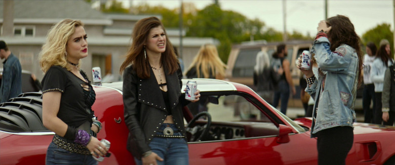 Alexandra Daddario Drinks Pabst Blue Ribbon Beer in We Summon the Darkness Movie. (2)
