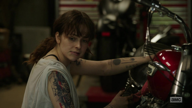 Ashleigh Cummings as Victoria Vic McQueen Using Triumph Motorcycle in NOS4A2 Season 2 TV Show (4)
