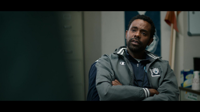 Brandon Scott as Coach Kerba Wearing Champion Jacket in 13 Reasons Why S04E03 TV Show