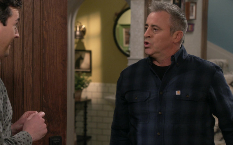 Carhartt Blue Plaid Long Sleeve Shirt Worn by Matt LeBlanc in Man with a Plan S04E13 (1)