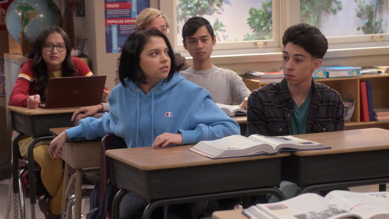 Champion Blue Oversized Hoodie Worn by Cree Cicchino as Marisol in Mr. Iglesias S02E06 (2)