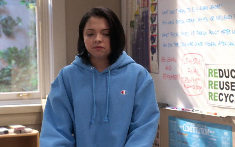 Champion Blue Oversized Hoodie Worn by Cree Cicchino as Marisol in Mr. Iglesias S02E06 (3)