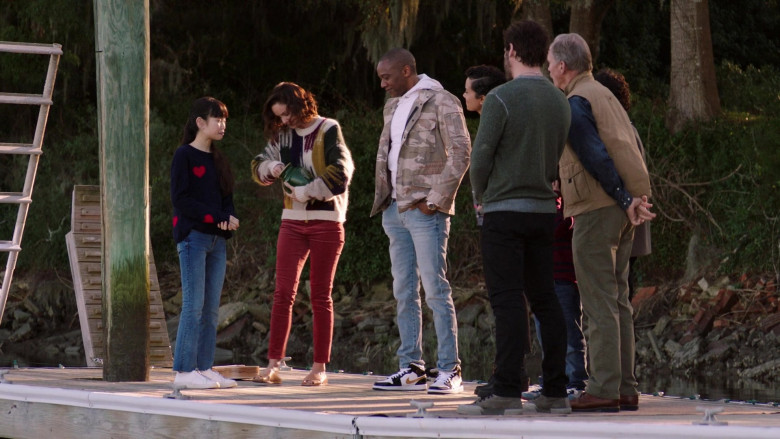 J. August Richards Wearing White Hoodie, Military Print Jacket, Blue Jeans Outfit and Air Jordan 1 Shoes in Council of Dads S01E06 TV Show (2)