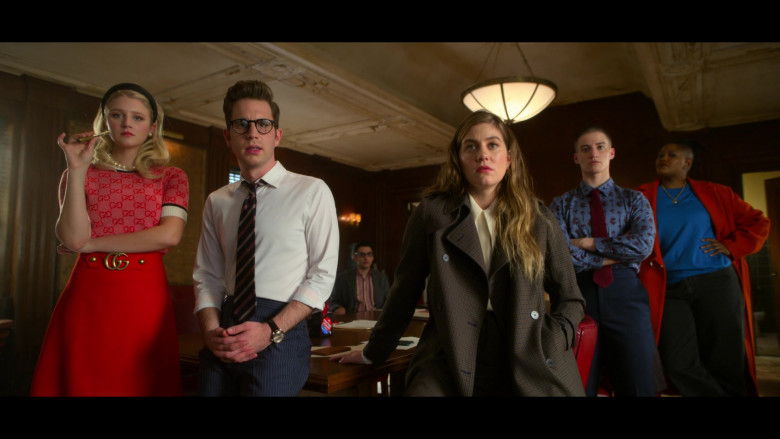 Julia Schlaepfer as Alice Charles Wears Gucci Short-Sleeved Sweater and Red Skirt Outfit in The Politician Season 2