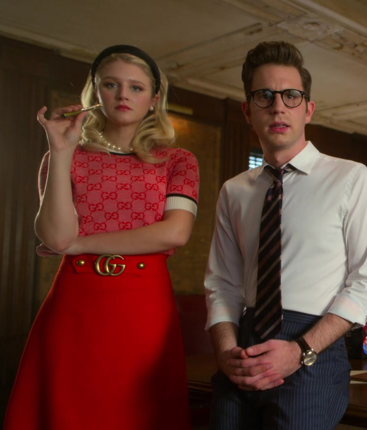 Actress Julia Schlaepfer as Alice Charles Wears Gucci GG Logo Short-Sleeved Sweater and Red Skirt Outfit in The Politician Season 2